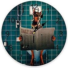 Animal Dog PVC Wall Clock, Silent Non-Ticking