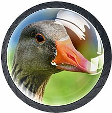 Animal Duck Crystal Drawer Handles Furniture Glass
