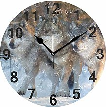 Animal Forest Wolf Wall Clock Quartz Analog Quiet,