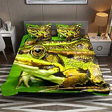 Animal Frog Toad Green 3pcs Duvet Cover Set Double