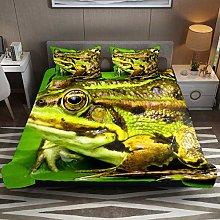 Animal Frog Toad Green 3pcs Duvet Cover Set Super