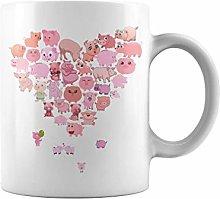 Animal Heart Pig | 11 oz Funny Coffee Mug