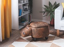 Animal Hippo Children Stool with Storage Brown Faux Leather Wooden Legs Nursery Footstool