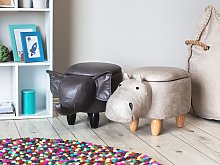 Animal Hippo Children Stool with Storage Light Grey Faux Leather Wooden Legs Nursery Footstool