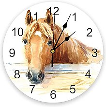 Animal Horse Watercolor Art 3D Wall Clock Modern