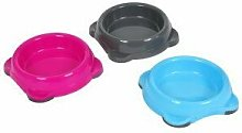Animal Instincts Plastic Cat Bowl Grey Pink Blue