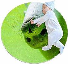 Animal Lovely Green Sea Lion round rug non-slip