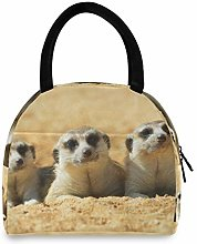 Animal Meerkat Funny Portable Lunch Bag Insulated