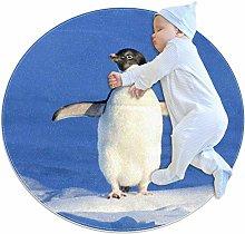 animal Penguin round rug non-slip back machine
