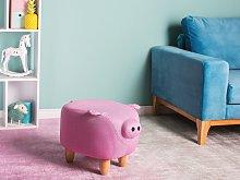 Animal Pig Children Stool Pink Fabric Wooden Legs