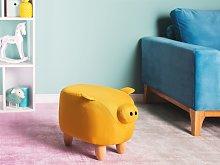 Animal Pig Children Stool Yellow Fabric Wooden