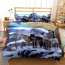 Animal Print Bedding Set Double Size Wolves Snow