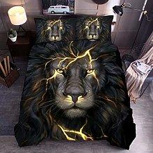 Animal Print Bedding Set King Size Lion Lightning
