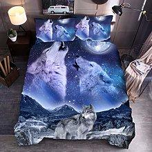 Animal Print Bedding Set King Size Wolf galaxy