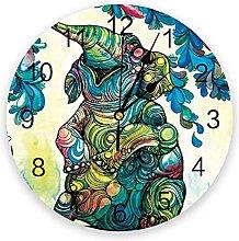 Animal PVC Wall Clock, Silent Non-Ticking Round