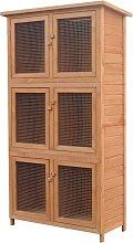 Animal Rabbit Cage 6 Rooms Wood - Brown - Vidaxl