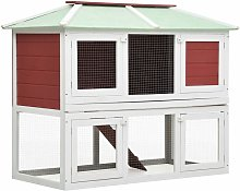 Animal Rabbit Cage Double Floor Red Wood - Red