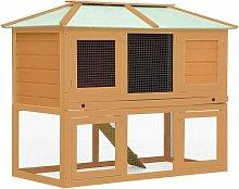 Animal Rabbit Cage Double Floor Wood - Brown -