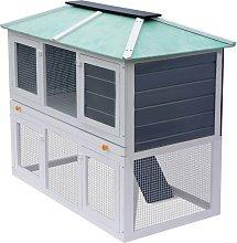 Animal Rabbit Cage Double Floor Wood - White