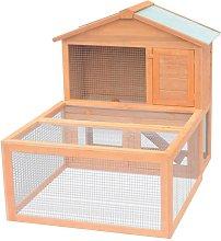 Animal Rabbit Cage Outdoor Run Wood - Brown -