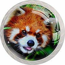 Animal Red Panda White Crystal Drawer Handles
