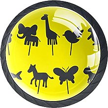 Animal Shadow Puppet, 4 Pack Cabinet Knobs Solid