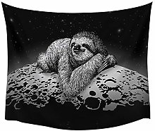 Animal Sloth Moon Lazy Gray Tapestry Cover Beach