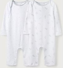 Animal & Stars Sleepsuits – Set of 2 , White,