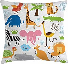 Animal Throw Pillow Cushion Cover, Giraffe