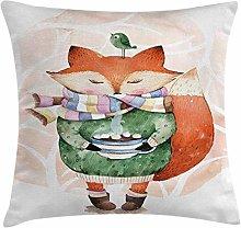 Animal Throw Pillow Cushion Cover, Little Fox and