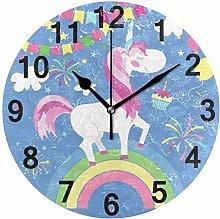 Animal Unicorn Rainbow Wall Clock Quartz Analog