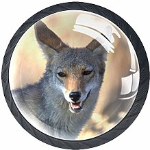 Animal Wolf Crystal Drawer Handles Furniture Glass