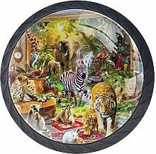 Animals Party Lemur Tiger Flamingo Cabinet Door
