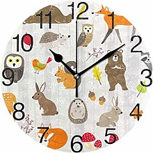 Animals with Stripes Round Wall Clock, Silent
