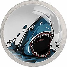 Animation Shark 4 Pack Glass Drawer Knobs- Round