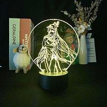 Anime 3D gen1shin Night Light Colorful Remote