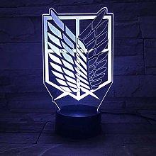 Anime Attack On Titan Night Light Led Logo