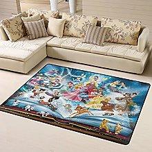 Anime White Snow Bambi Area Rug Floor Rugs Living