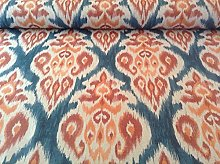 Ankara Ikat Linen Blue/Terracotta Cotton Curtain