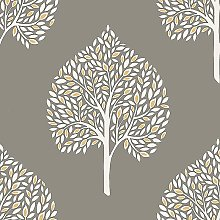 Annabelle Trees Leaves Grey Yellow White Motif