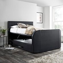 Annecy Black Leather Ottoman Media TV Bed Frame -
