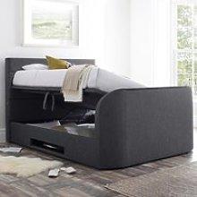Annecy Slate Grey Fabric Ottoman Media TV Bed