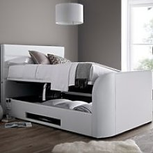 Annecy White Leather Ottoman Media TV Bed Frame -