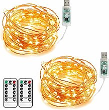 Annefly 2Pack 10M USB Powered Fairy Lights Plug in