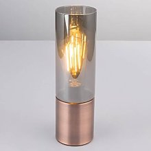 Annika table lamp, copper and smoky grey