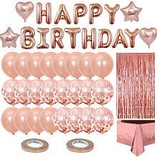 Anniversary Balloon Rose Gold Kit Banner Happy