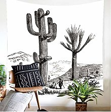 AnnQing Natural Green Plant Cactus Tapestry Wall
