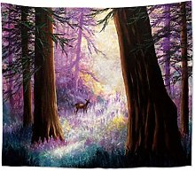 AnnQing Natural Scenery Forest Tree Moon Tapestry