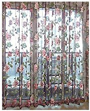ANPI Floral Tulle Curtain, Voile Curtain for Door