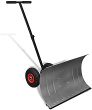 Anself Manual Snow Shovel with Wheels Galvanised